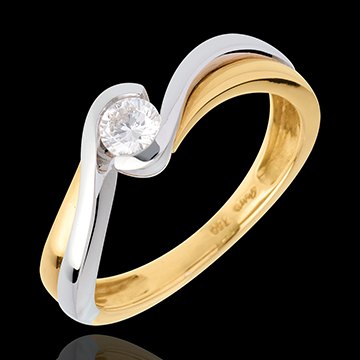 Solitaire Precious Nest - Acquarius- yellow and white gold - 0.21 carat - 18 carats
