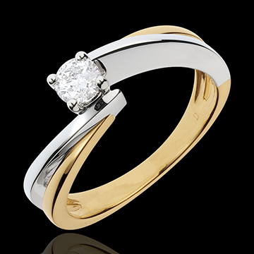 d486e1e9d94 Solitaire Ring Precious Nest- Filament - yellow gold and white gold - 0.26  carat - 18 carats   Edenly jewelery