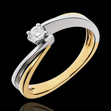 Solitaire Precious Nest - Filament - yellow gold and white gold - 0.13 carat - 18 carats