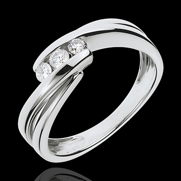 Trilogy Ring Precious Nest - Ritournelle - white gold - 0.21 carats - 3 diamonds - 18 carats