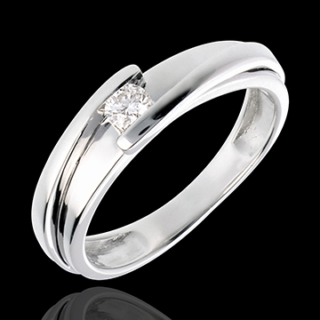 Solitaire Precious Nest - Contemporary - white gold - 0.13 carat diamond - 18 carats