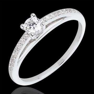 Engagement Ring - Avalon - 0.195 carat diamond - white gold and diamond