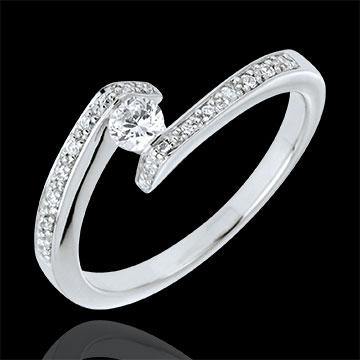 Solitaire Ring Precious Nest - Set Shoulders - Promise - white gold - 0.15 carat diamond - 18 carats
