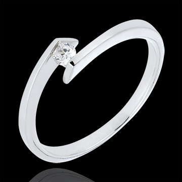 Solitaire Ring Precious Nest - Princess Star - white gold - 0.08 carat diamond - 18 carats