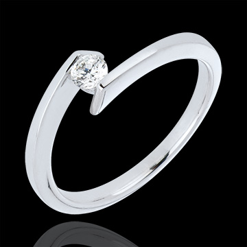 Solitaire Ring Princess Star - White gold