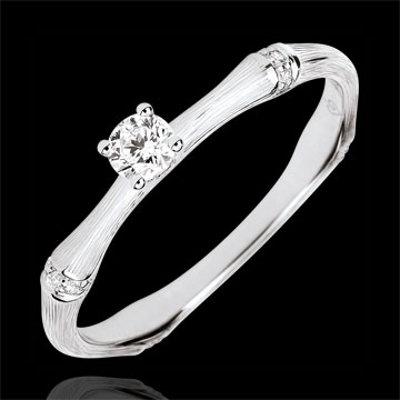 Jungle Sacrée engagement ring - 0.09 carat diamond - brushed yellow gold 9 carats