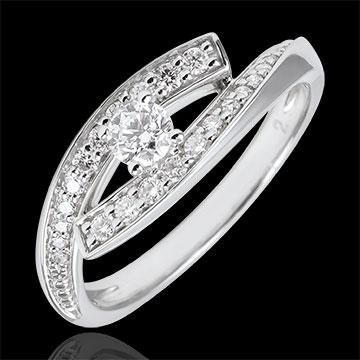 Ring Destiny Solitaire - Diva - white gold - small size - 0.08 carat