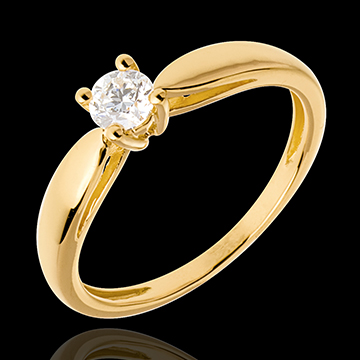 Solitaire tapered ring yellow gold - 0.26 carat