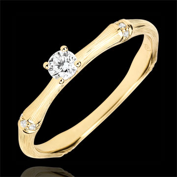 Jungle Sacrée engagement ring - 0.09 carat diamond - brushed yellow gold 18 carats