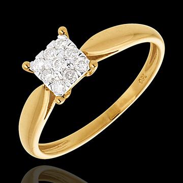 Elegance ring yellow gold square paved - 9diamonds