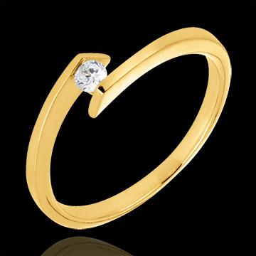 Solitaire Ring Precious Nest - Princess Star - yellow gold - 0.08 carat diamond - 18 carats