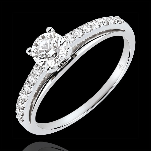 Engagment Ring - Avalon - 0.4 carat diamond - white gold 9 carats