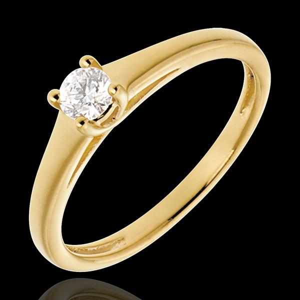 Esenţialul unui Solitaire aur galben de 18K - 0.19 carate