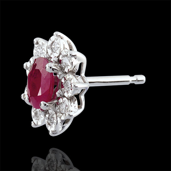 Eternal Edelweiss Earrings - Daisy Illusion - Rubies and Diamonds - 09 carat White Gold