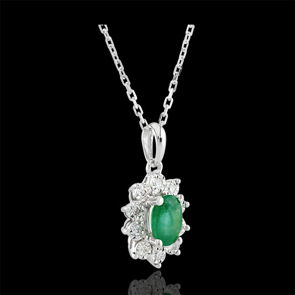 Eternal Edelweiss Necklace - Daisy Illusion - Emeralds and Diamonds - 18 carat White Gold