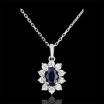 Eternal Edelweiss Necklace - Daisy Illusion - Saphhires and Diamonds - 09 carat White Gold