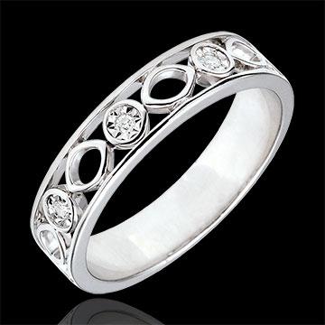 Fede Apolyne - Oro bianco - 9 carati - 3 Diamanti