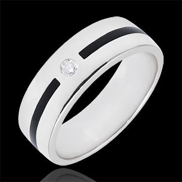 Fede Chiaroscuro - Linea e Diamante - modello grande - Oro bianco - 9 carati - Lacca nera - Diamante