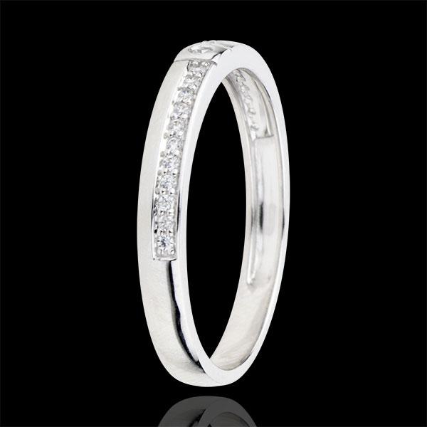 Fede con diamanti Mille Meraviglie - Oro bianco - 9 carati - 23 Diamanti