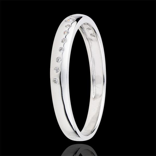 Fede con diamanti Nuziale - Oro bianco - 9 carati - 15 Diamanti