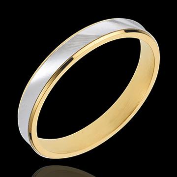 Fede Dandy - Oro giallo e Oro bianco - 18 carati - 3mm