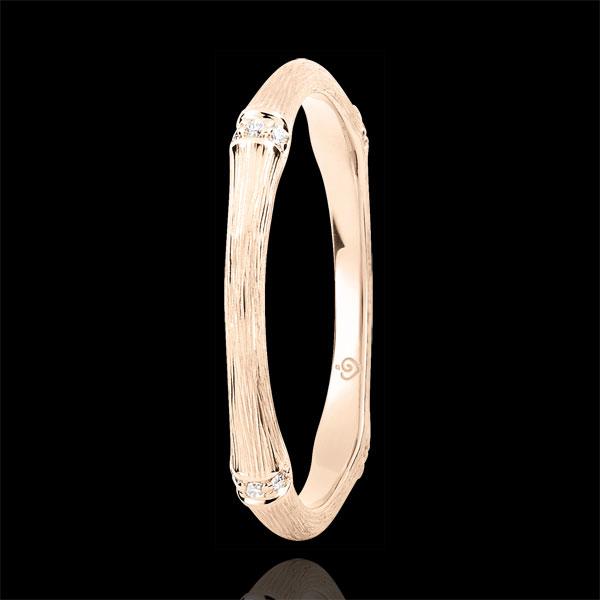 Fede Giungla Sacra - Multi diamanti 2 mm - oro rosa spazzolato 18 carati