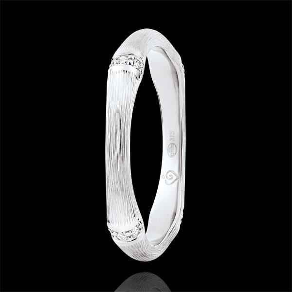 Fede Giungla Sacra - Multi diamanti 3 mm - oro bianco spazzolato 18 carati