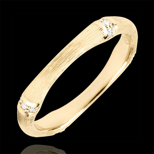Fede Giungla Sacra - Multi diamanti 3 mm - oro giallo spazzolato 9 carati