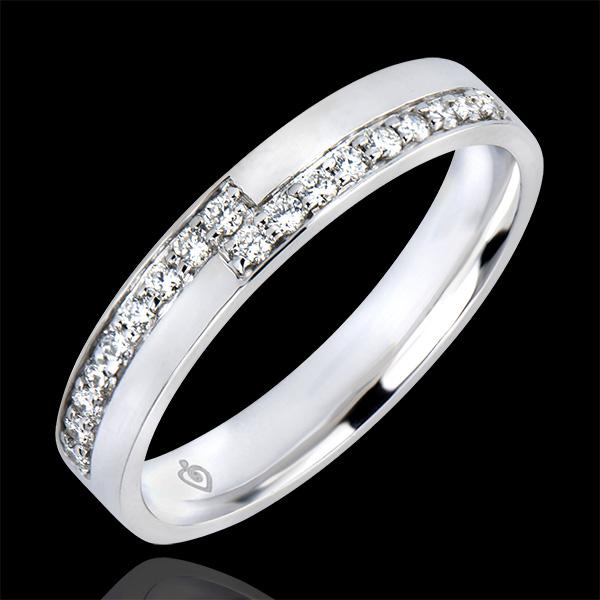 Fede nuziale Abbondanza - Passione - oro bianco 18 carati e diamanti