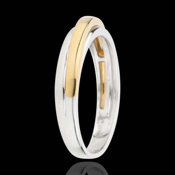 Fede nuziale Atlas - Oro bianco e Oro giallo - 9 carati