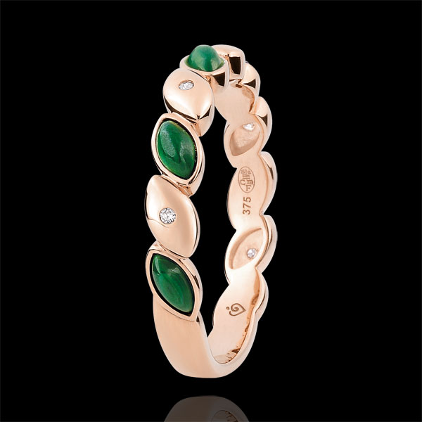 Fede nuziale Beatitudine - Malachiti e diamanti - Oro rosa 18 carati