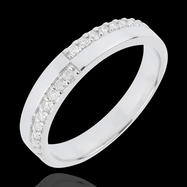 Fede nuziale - Bell'equilibrio - Oro bianco - 18 carati - 20 Diamanti - 0.20 carati