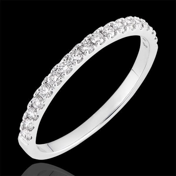 Fede nuziale Bettina - oro bianco 18 carati e diamanti