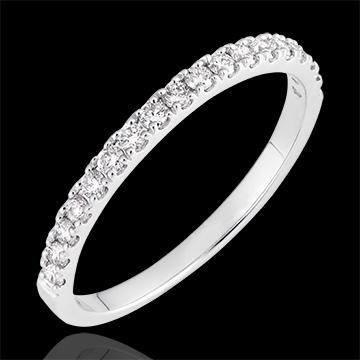 Fede nuziale Bettina - oro bianco 9 carati e diamanti
