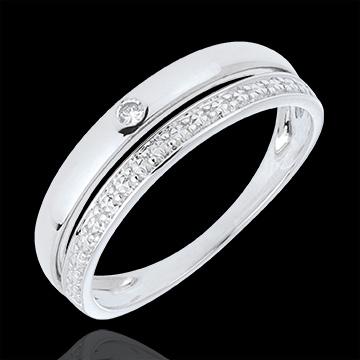 Fede nuziale Coquette - Oro bianco - 18 carati - Diamante