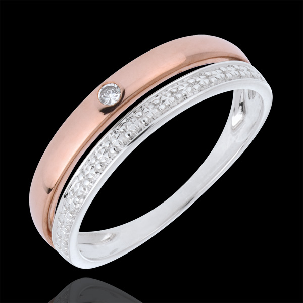 Fede nuziale Coquette - Oro rosa e Oro bianco - 18 carati - Diamante