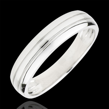 Fede nuziale Cronos -Oro bianco - 9 carati