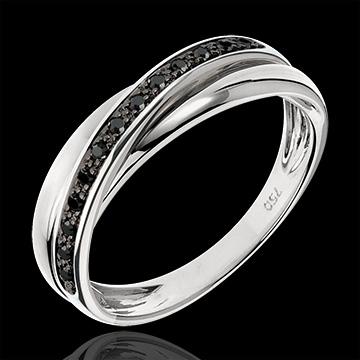 Anello Saturno Diamante - 13 diamanti neri e oro bianco - 18 carati