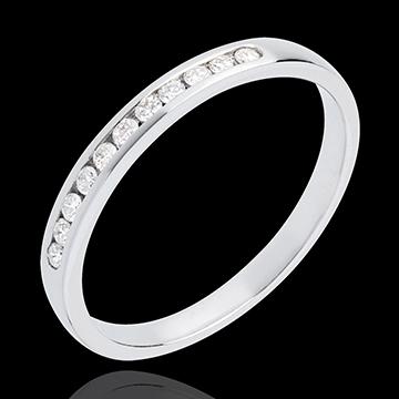 Fede nuziale - Oro bianco semi pavé - 18 carati - 11 Diamanti - incastonatura a binario - 0.15 carati