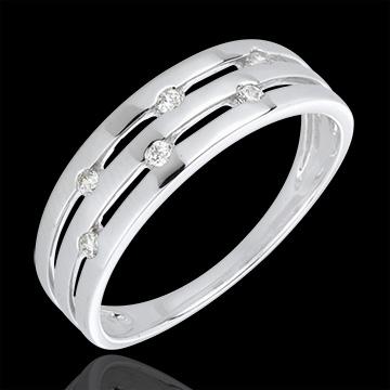Anello Sera d'estate - Oro bianco - 18 carati - 6 Diamanti