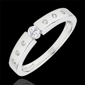 Anello Solitario Désirée - Oro bianco - 9 carati - 7 Diamanti - 0.17 carati