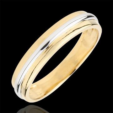 Fede nuziale Elio - Oro giallo e Oro bianco - 18 carati
