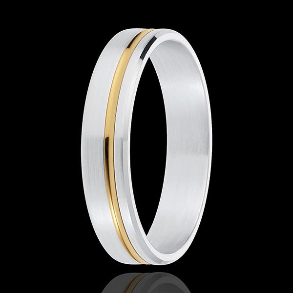 Fede nuziale - Emmanuel - Oro bianco e Oro giallo - 18 carati