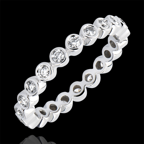 Fede nuziale Fior di Sale - Incastonatura chiusa - Giro completo - oro bianco 18 carati e diamanti