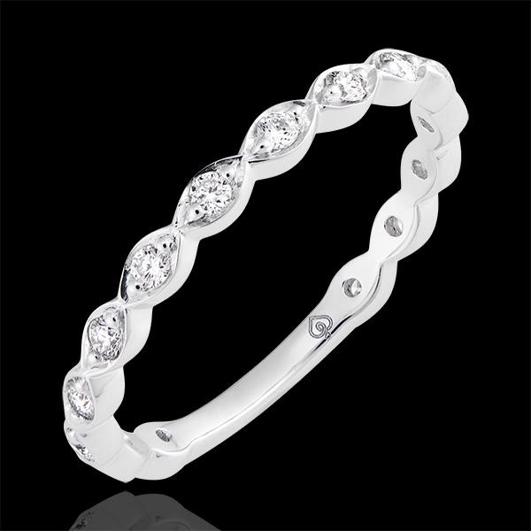 Fede nuziale Gocce di Rugiada - oro bianco 9 carati e diamanti