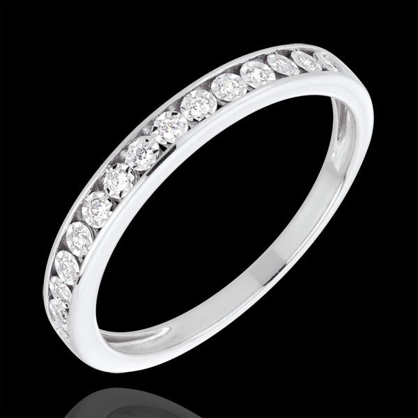 Fede nuziale Incastonature magiche - Oro bianco e Diamanti