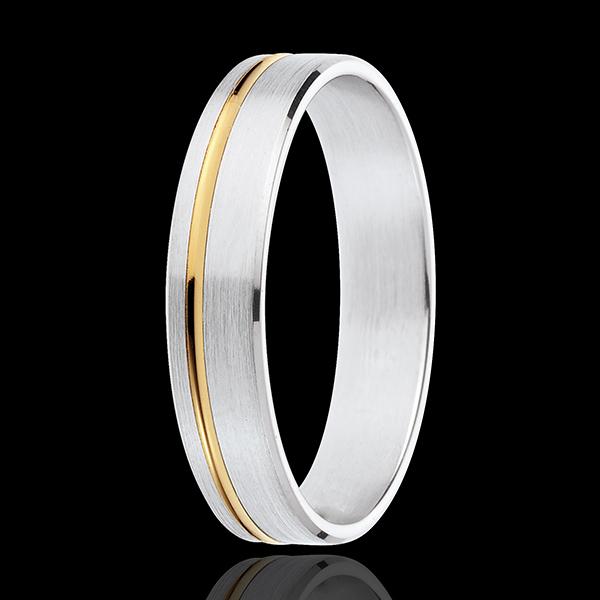 Fede nuziale - Mathis - Oro bianco e Oro giallo - 18 carati