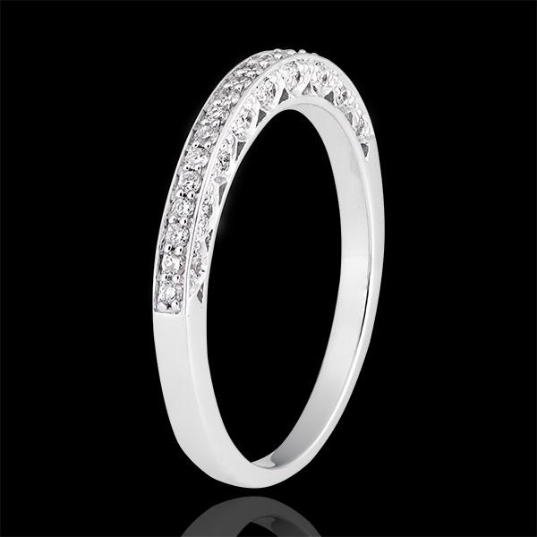 Fede nuziale Miriade - variazione - oro bianco 9 carati e diamanti