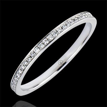Fede nuziale Origine - Incastonatura a Grani - oro bianco 9 carati e diamanti
