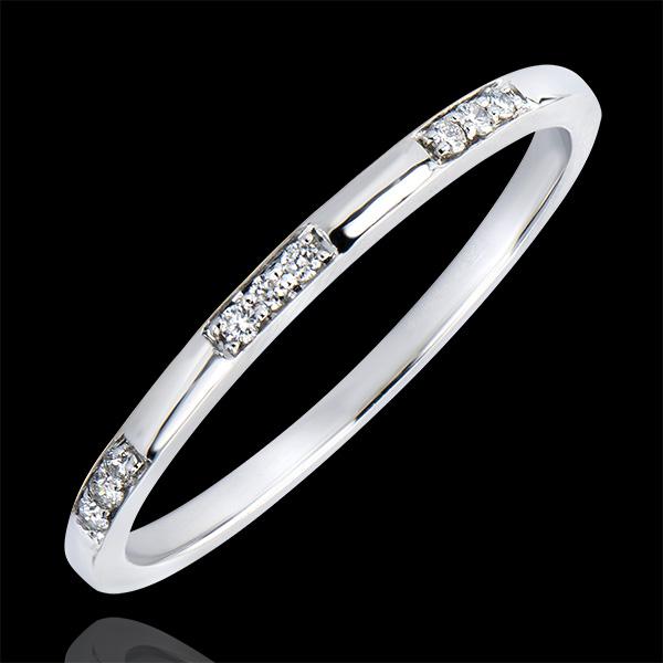 Fede nuziale Origine - Signorina - oro bianco 18 carati e diamanti